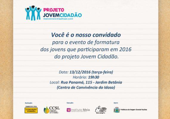 Projeto Jovem Cidadão - Convite de Formatura